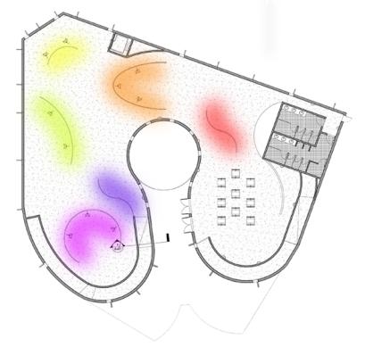 Exhibit spaces, different Colors